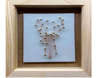 Copper Wire Stags Head in a Glased Box Frame