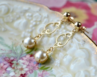 Ornate pearl earrings - Faux pearl studs