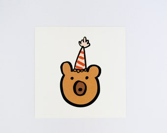 Party Bear - Bear Illustrated Art - Wall Decor - Art for Children's Room - Nursery Art