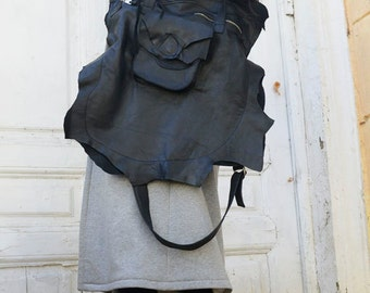 Genuine Leather Black Tote Bag / Large Front Pocket Bag / Asymmetric Zipper Black Bag by METAMORPHOZA