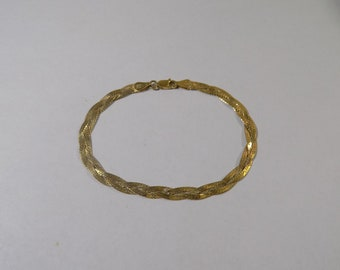 Beautiful two stand gold tone sterling silver woven bracelet 7 1/2 inches 5 mm wide