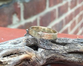 14kt Yellow Gold 3mm Wood Grain Textured Wedding Band