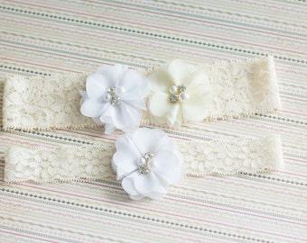 White Wedding Garter Set, bridal Garter Set, Wedding Garter Lace, Bridal Garter Lace, wedding garter belt, white ivory garter, white garter