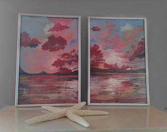"""Abstract acrylic """"Partly Cloudy"""" sunset coastal seascape painting"""