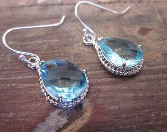 Aquamarine Earrings Silver- Teardrop Glass - Sterling Silver Earwires -  Bridesmaid Earrings - Wedding Earrings - Bridal Earrings