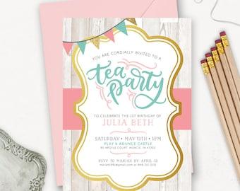 Tea Party Geburtstag Einladung zum Ausdrucken / rustikale Geburtstageinladungen für Mädchen / Pink Petrol / Gold-Glitter-Einladungen