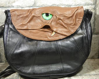 Cross Body Adjustable Purse With Face Monster Brown Black Leather Goth Rockabilly 384