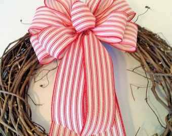 Red Ticking Stripe Wreath Bow