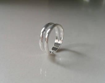 Sterling Silver Midi Finger Ring Silver Toe Ring Sterling silver Knuckle ring Sterling Silver Double Band Ring Silver Adjustable Silver Ring