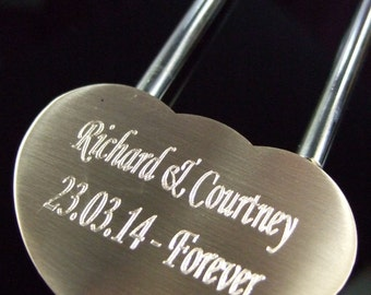 Engraved Solid Brass LoveLock/ Love Lock Personalised Padlock (Medium - 48mm)
