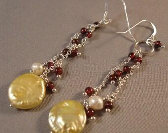 Garnet, Fresh Water Pearl Dangle Earrings, gemstone earrings, pearl earrings, silver earrings, garnet earrings, gemstone jewelry,birthstone
