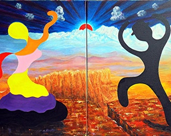 "Painting acrylic diptych - ""Puppet Flamenco""-"