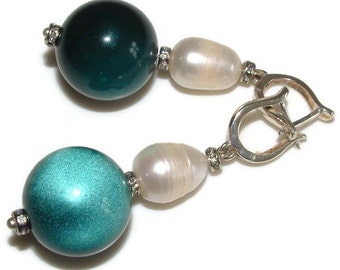 Baroque pearl & emerald green earrings, vintage moonstone lucite, sterling silver hooks, unique statement perfect for evening, wedding