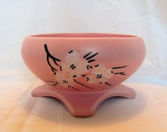 McCoy Planter Pink with White Dogwood Blossoms /  Footed Pink Planter by McCoy