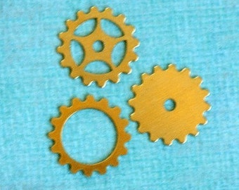 3 16mm Brass Steampunk Gears 1975
