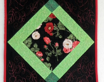 Table Runner for Sale, Quilted ROSE TABLE RUNNER, patchwork hand made in America, great gift