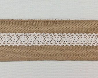 "FREE SHIPPING- 2.5"" Wired Burlap and White Lace Ribbon - Wedding Ribbon - Shabby Chic - Fall Ribbon- 5 Yards"