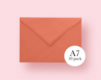 5x7 Orange Envelopes | A7 Orange Envelopes | Set of 10