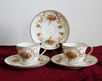 2 Antique small coffee cup demitasse Vintage teacup cup and saucer England White pink blue flowers English china Victorian 1890s