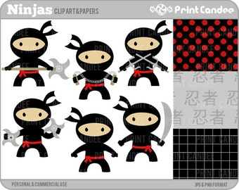 70% OFF SALE! - Ninjas - Digital Clip Art - Personal and Commercial Use - tai kwon do boys karate nunchuks