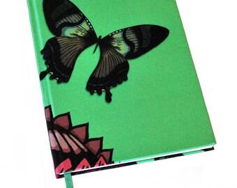 A5 Butterfly Notebook / Butterfly Journal / Silk Bound Notebook / Silk Bound Journal / Writing Journal / Mothers Day Gift / Green Notebook