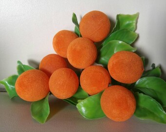 Flocked oranges floral picks , perfect for fascinators , wreaths , bouquets , crafts