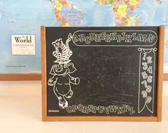 Vintage Children's Chalkboard / Wooden Carrying Case / Pressman Vintage Toy / Nursery Decor / Wall Art / Alphabet