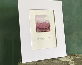 rosy / original watercolor / one of a kind painting