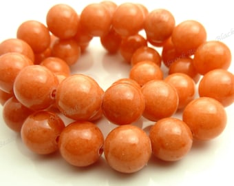 10mm Coral Orange Jade Round Gemstone Beads - 16 Inch Strand - BF5