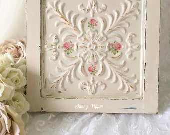 Shabby Metal Tile, Ceiling Tile, chippy white paint, chippy distressed, shabby cottage chic, shabby pink roses, Shabby Wall art, Fanny Pippi