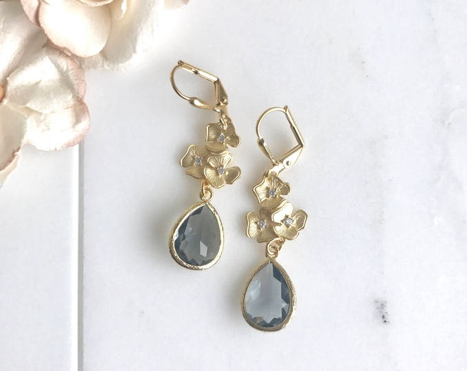 Charcoal Grey and Gold Bridesmaid Earrings. Jewel Bridesmaid Earrings. Bridal Drop Earrings. Gold Fashion Earrings. Wedding Gift.
