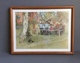 Framed Children's Print, Illustrative Art, Picnic
