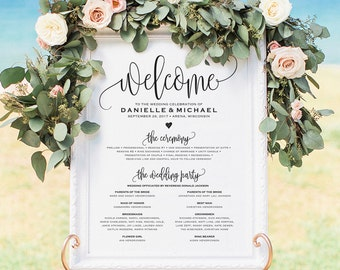 Wedding program Printable, Welcome Wedding Sign, Program Sign, Wedding Sign, Wedding Poster, Template, DIY, PDF Instant Download #BPB203_60