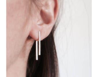 Sterling silver ear jacket earrings/ Long bar ear jacket/ Sterling silver minimalist earrings/ Front back silver earrings/ Stick earrings