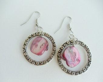 Pink Shell Chandelier Earrings On Leaf Embossed Metal Circles