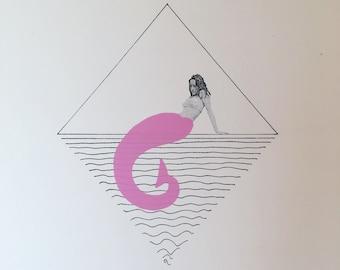 Screenprint // Mermaid // Pink / Black / White