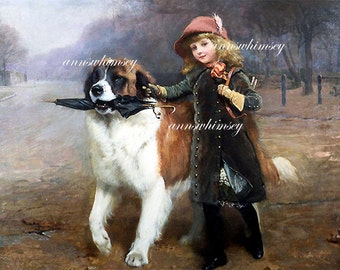 "Girl and Dog Print ""Off To School"",  St. Bernard Escorts Mistress to School - Restored Antique Print  #55"