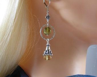 Silver Citrine Earrings with Green Garnet