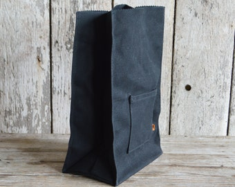 Marlowe Lunch Bag in Black Coal, Waxed Canvas Lunch Tote, Lunch Bag, Zero Waste Bag Gift for Husband, Gift for Wife, Birthday Gift, Under 50