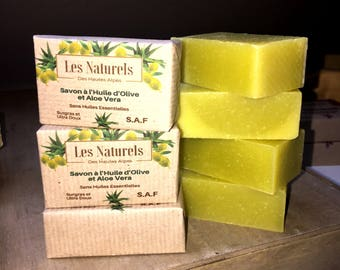 Natural SOAP to 60% Olive oil and Aloe Vera manufacturing costs made FAS. No essential oils, it smells naturally.