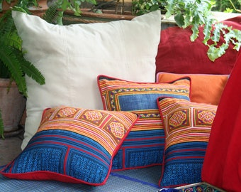 """Red & Yellow Hmong Pillow, Ethnic Embroidery On Cotton 16 """"  Boho Pillow Cushion, ** Free Worldwide Shipping **"""