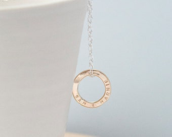 Personalised Gold Circle Necklace, Tiny Gold Circle Necklace, Dainty Gold Circle Necklace, Solid Gold Ring Necklace
