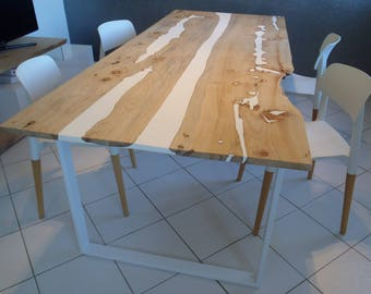 Wood and resin live edge dining table