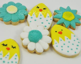 1/2 Dozen Cute Easter chicks and Flowers Decorated Iced Sugar Cookies - polka dots - Spring - fun -flowers - garden - gift - blue - yellow