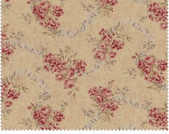 Antique Rose  Cotton Fabric by  Lecien 31021-10  Roses with Ribbons
