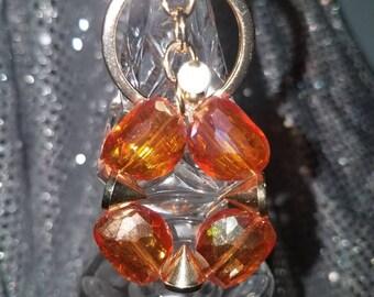 Peach & gold spike key chain