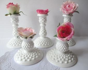 Vintage Fenton Milk Glass Hobnail Candleholder Collection of Five Elegant Weddings