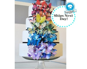 Food Decorations EDIBLE Butterflies for Cakes - Ultimate Rainbow set of 75 - Cake and Cupcake Toppers