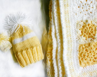 Yellow Baby Gift Set- Blanket, Matching NewbornHat, Tiny Hats- Made To Order- Crocheted Granny Squares- Knit Newborn Hat