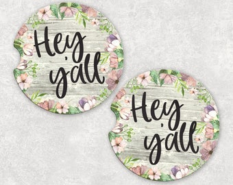 Floral Car Coasters | Hey Yall | Coasters for Car | Cup Holder Coasters | Southern Car Accessories | College Student Gift | Gift for Her